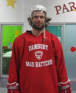 Newburyport's Erik Kent after a pregame skate with the Danbury Mad Hatters.