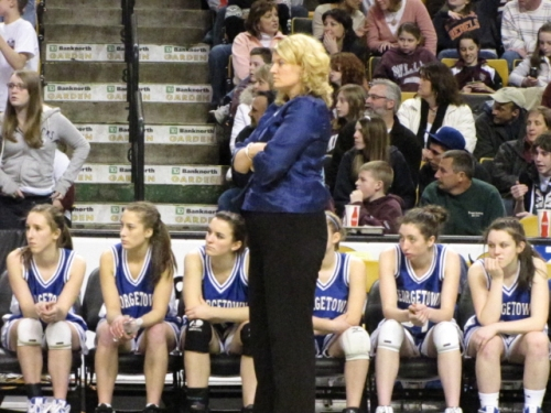 Georgetown girls coach Barri Ann Lorenzo looks on during closing minute of the Royals state finals loss to Millis at the BankNorth Garden on March 9th.