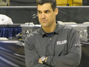 Villanova coach Jay Wright looks on.