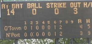 The scoreboard after the game