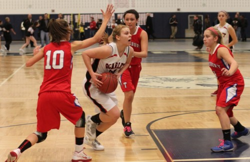 Morgan Lumb (22 points) cuts through Tewksbury defenders