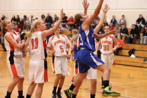 Marissa Agganis (7 points) sails in for a layup