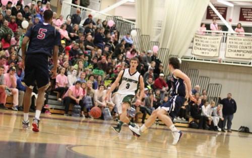 Travis Jorgenson (3) led New Hampton School with sixteen points