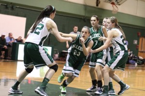 Brittany Lomanno (10 points) looks to get open