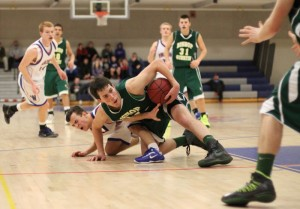 Ryan Gigliotti (16 points) tangles with Jeff Lunn