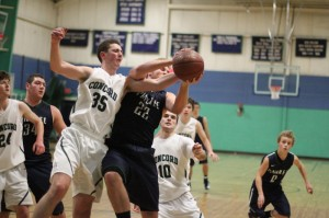 Sam Stogdon (14 points) and Kyle Lentini battle