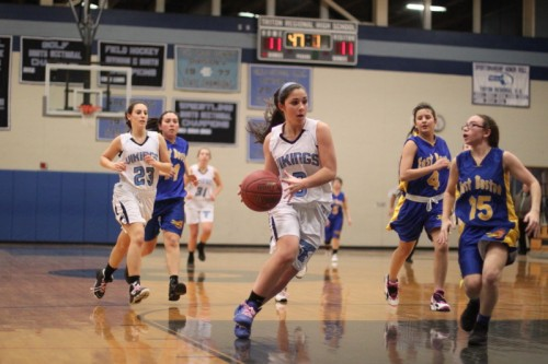 Christine Ciccone heads for the basket.