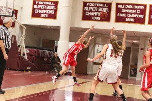 Hannah Kiernan (12 points) takes and makes a difficult shot.