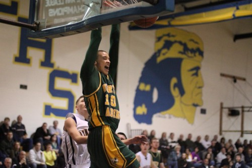 One of the four dunks John Mastascusa (20 points) had against Lynnfield