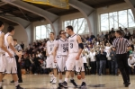 Seniors Tyler Dooley and Josh Syska leave the court happy
