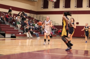 Andrea Terranova (8 points) looks for an opening