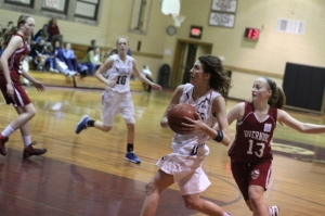 Kate Kerrigan heads for the hoop
