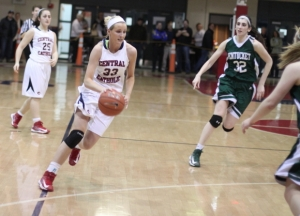 Casey McLaughlin (22 points) drives