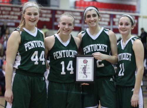 Pentucket seniors (Emily Dresser, Coley Viselli, Tess Nogueira, and Alex Moore) with championship plaque
