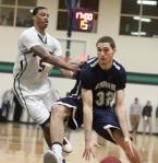 Chris McCullough pushes Gabe Levin (20 points)