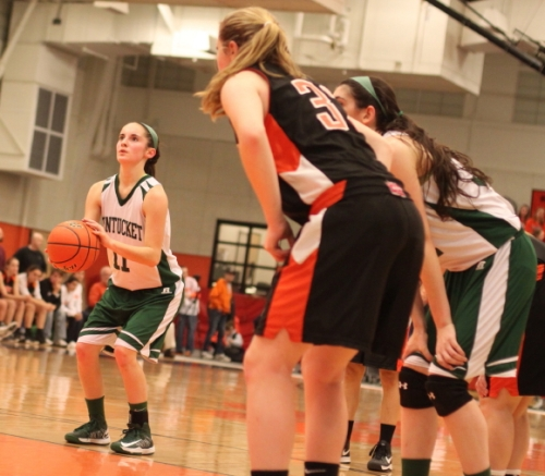 Alex Moore lines up a free throw.  The Sachems made sixteen in the second half.