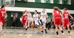 Kayla Leverone (10 points) dribbles
