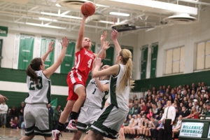 Nicole Femino (17 points) gets down the lane