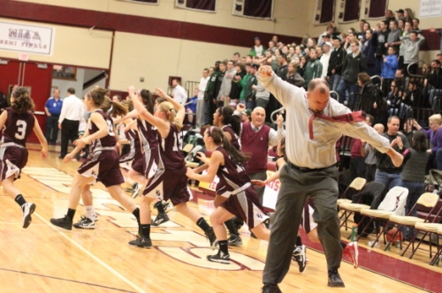 Westford coach Russ Coward celebrates win over Billerica