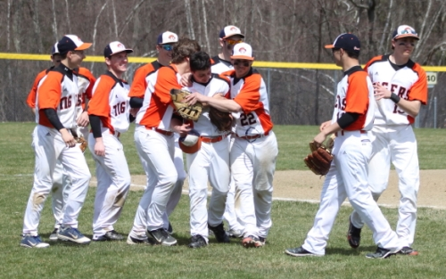 The Ipswich Tigers congratulate leftfielder Dan DAgostino on his game-ending catch
