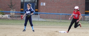 Erin Leary circles the bases