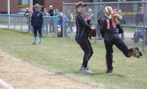 Molly Mello catches a foul pop in the seventh inning
