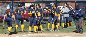 Malia Roberto (#7) after her homer in the first inning.