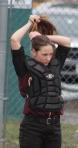 Lauren Singer gets ready to catch
