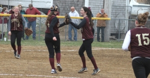 Victoria Allman gets congratulated by Kendra Dow after her third win of the season