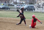 Julianna Kostas steals second as Kendra Dow awaits the throw