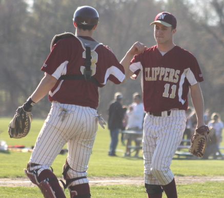 Evan Habib congratulated by catcher Connor Wile after pitching a 3-hit shutout against Ipswich