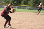 Meghan Stanton sets to throw to second baseman Jackie Krusemark