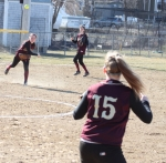 Third baseman Meghan Stanton fires to Carley Siemasko at first