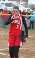 Pitcher Rachel Shamon leaves the game with an injury.