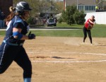Shortstop Amanda Schell fires to first