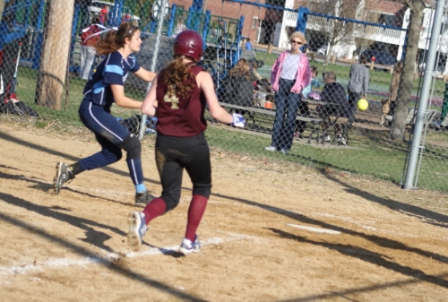 Mara and Vicki head for the plate.
