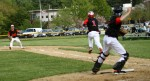 Eric Gongas prepares to throw out John Pesci at first