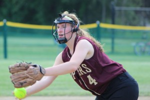 Vicki Allman tossed a three-hitter and had two hits herself
