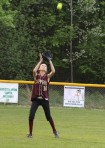 Ashley Hodge settles under a flyball