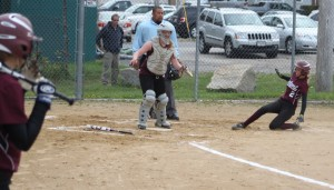 Meghan Tupper slides in with the first Rockport run