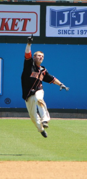 Kevin Huscher celebrates his 2-run game winning hit