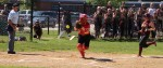Cassie Schultz loses the ball in the second inning