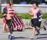 Seth Shimberg wears the flag