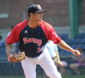 Mickey Pena made his AA debut pitching seven shutout innings
