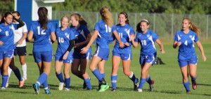 Natasha Staples (#11) after scoring for Kennebunk