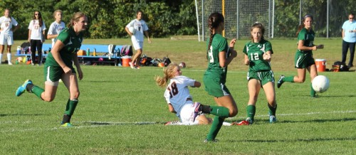 Katie Monahan goes down after firing a shot that became the second Ipswich goal.