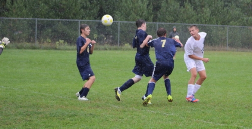 Austin German heads home the second Fryeburg Academy goal