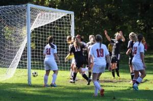 Emily Evans (2) celebrates her goal