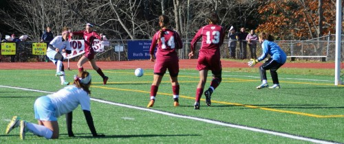 Luisa Sbadella steals and shoots what becomes the second Windham goal