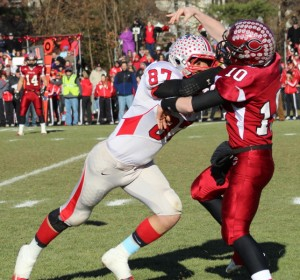 Mike Martinoli (87) gets in the face of Concord QB Rob Law (10)